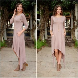 ✨LAST ONE✨Taupe high low dress